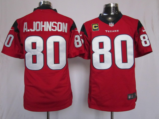 Houston Texans 80 A.johnson Red with C patch Game Nike jerseys
