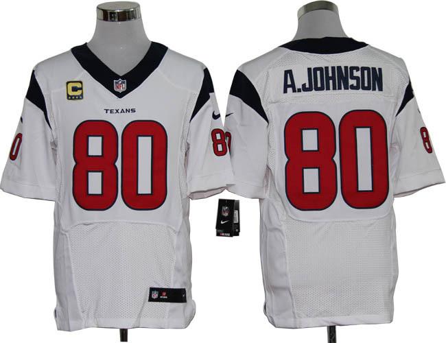 Houston Texans 80 A.johnson White with C patch Elite Nike jerseys