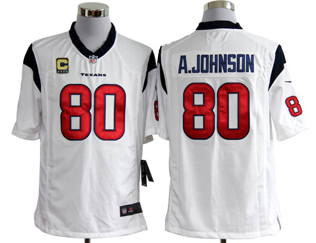 Houston Texans 80 A.johnson White with C patch Game Nike jerseys