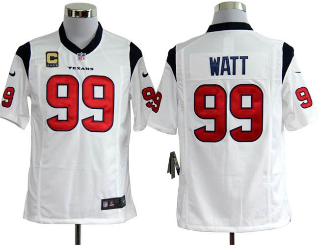 Houston Texans 99 Watt White with C patch Game Nike jerseys