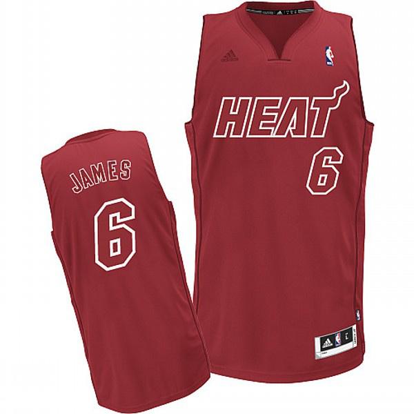 NBA Adidas Miami Heat 6 LeBron James red Jersey