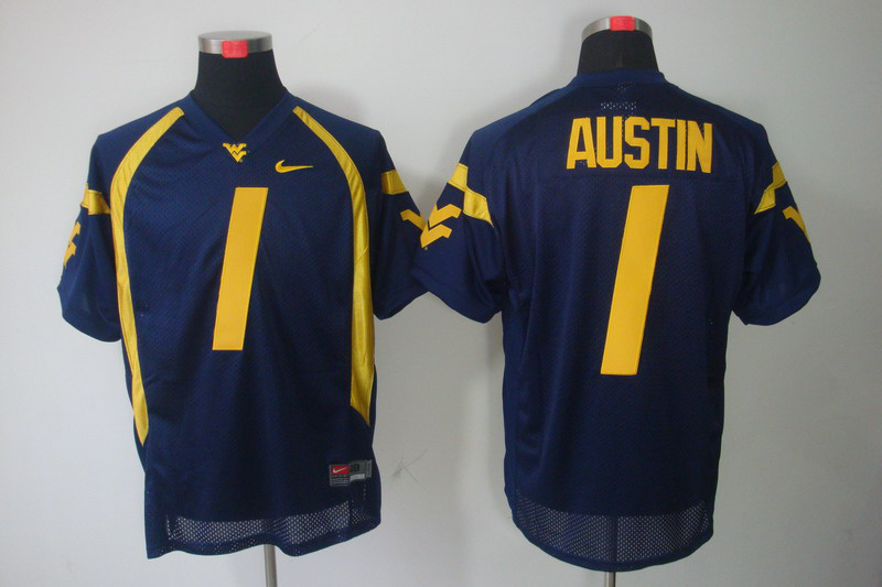NCAA West Virginia Mountaineers 1 Austin dark blue Jerseys