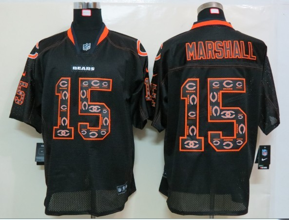 Chicago Bears 15 Marshall Nike Lights Out Black1 Elite Jerseys
