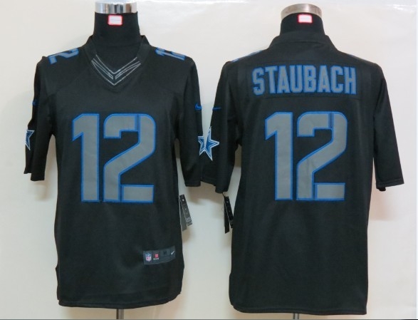 Dallas cowboys 12 Staubach Impact Nike Limited Black Jersey