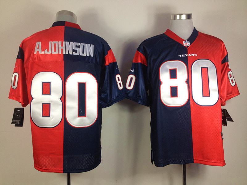 Houston Texans 80 Andre Johnson blue and red Nike Split Elite jerseys