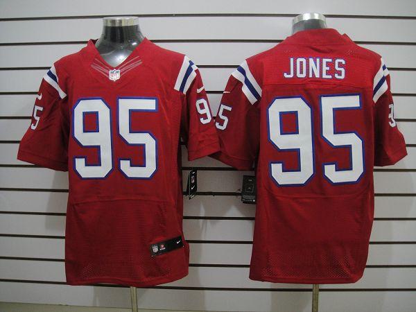 New England patriots 95 Jones Red Elite Nike jerseys