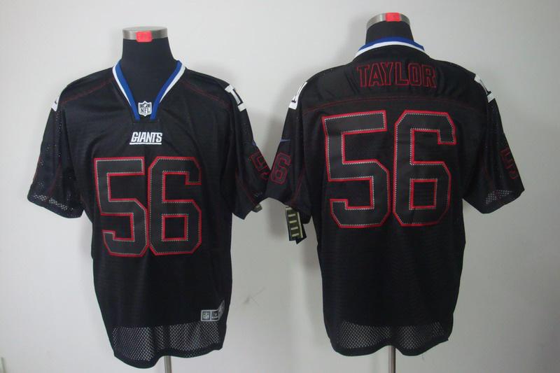 New York Giants 56 Lawrence Taylor Nike Lights Out Black Elite Jerseys