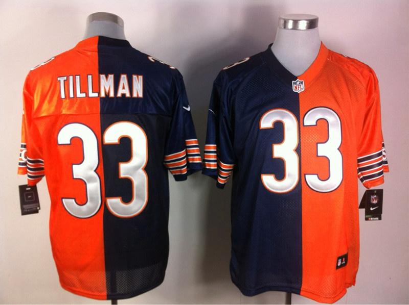 Chicago Bears 33 Charles Tillman blue and orange Nike Split Elite jerseys