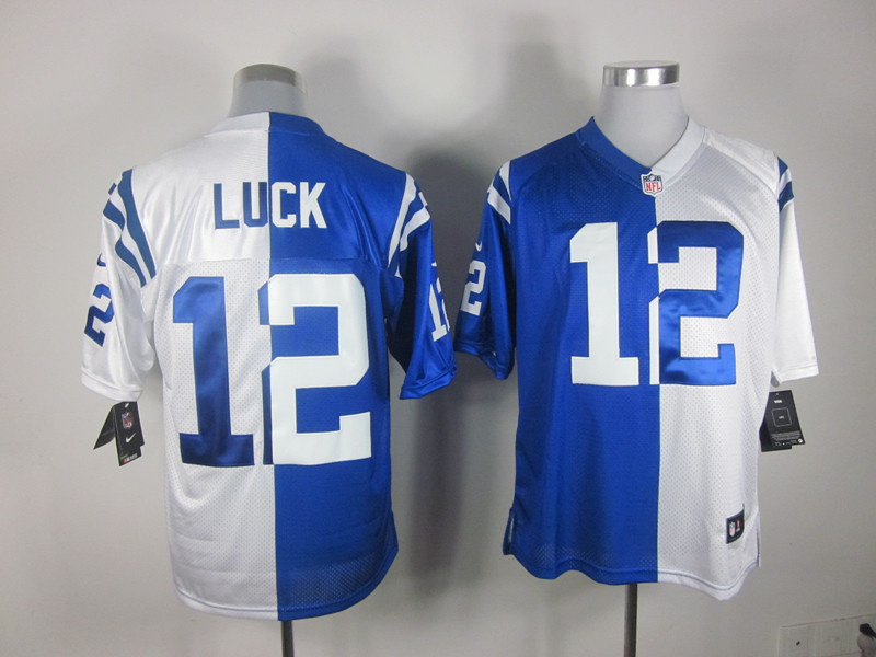 Indianapolis Colts 12 Andrew Luck blue and white Nike Split Elite jerseys