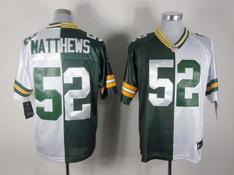 Green Bay Packers 52 Matthews White and Green Nike Elite Split jerseys