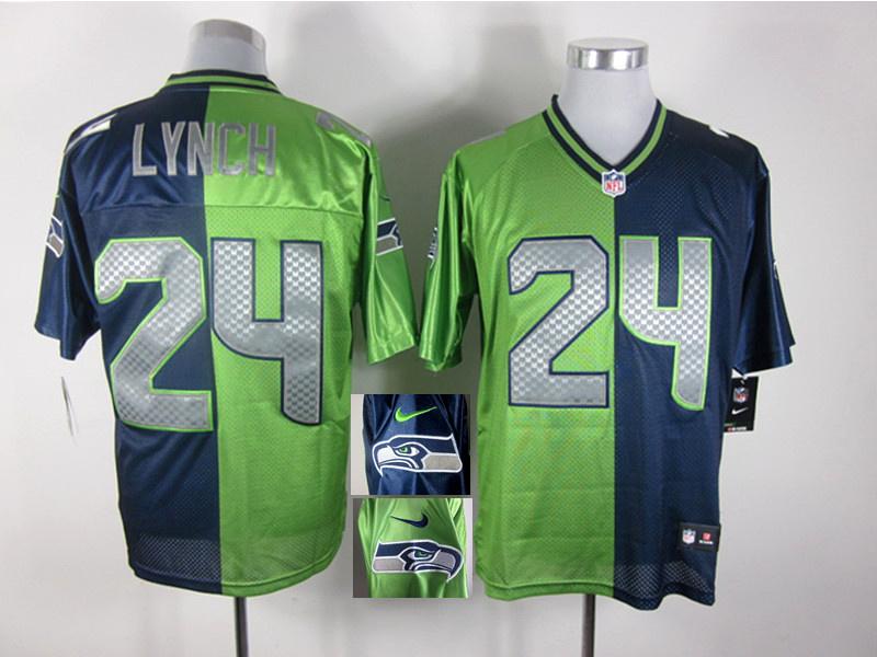 Seattle Seahawks 24 Lynch Blue and Green Nike Elite Split jerseys