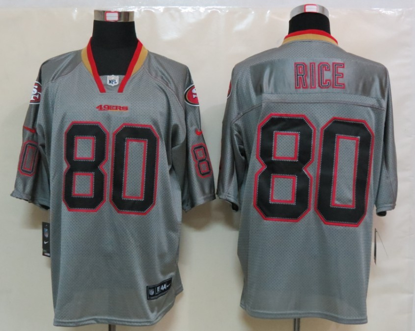 San Francisco 49ers 80 Rice Nike Lights Out Grey Elite Jerseys