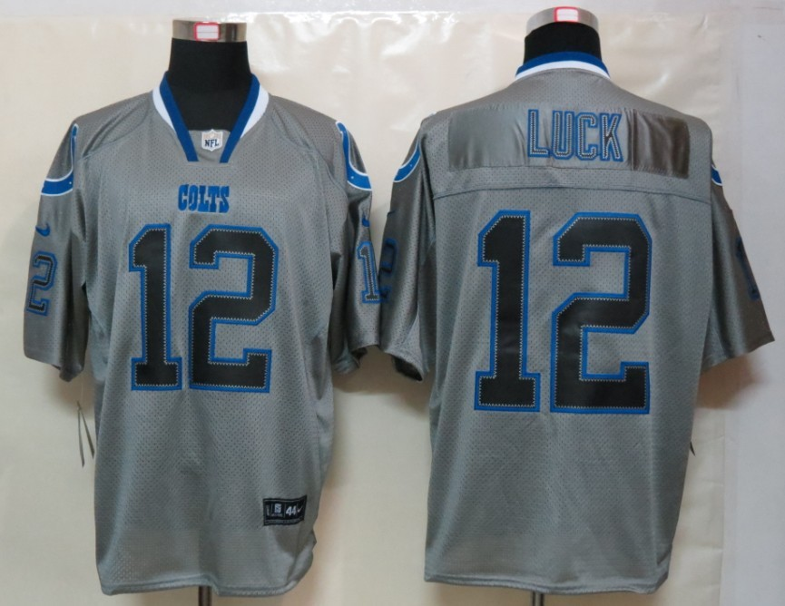 Indianapolis Colts 12 Luck Nike Lights Out Grey Elite Jersey