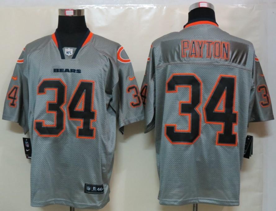 Chicago Bears 34 Payton Nike Lights Out Grey Elite Jerseys