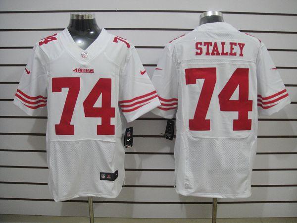 San Francisco 49ers 74 Staley White Elite Nike jerseys