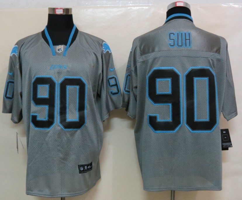 NEW Nike Detroit Lions 90 Suh Lights Out Grey Elite Jerseys