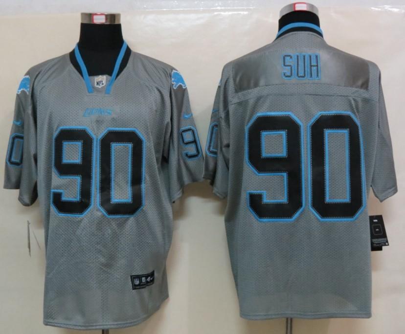NEW Nike Detroit Lions 90 Suh Lights Out Grey Elite Jerseys