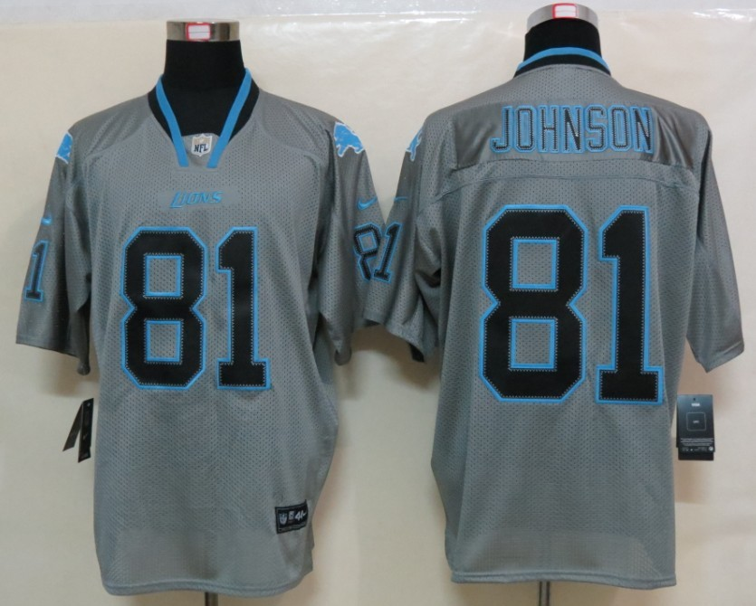 Detroit Lions 81 Johnson Nike Lights Out Grey Elite Jerseys