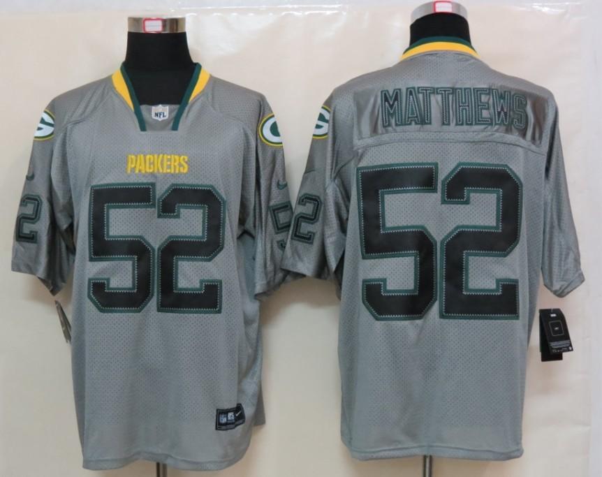 Green Bay Packers 52 Matthews Nike Lights Out Grey Elite Jerseys
