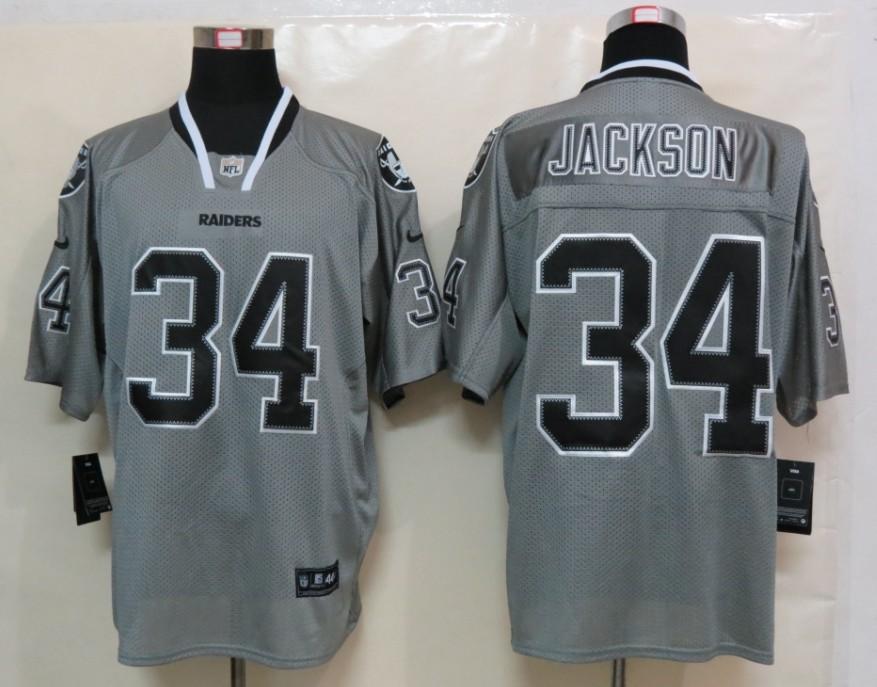 Okaland Raiders 34 Jackson Nike Lights Out Grey Elite Jerseys