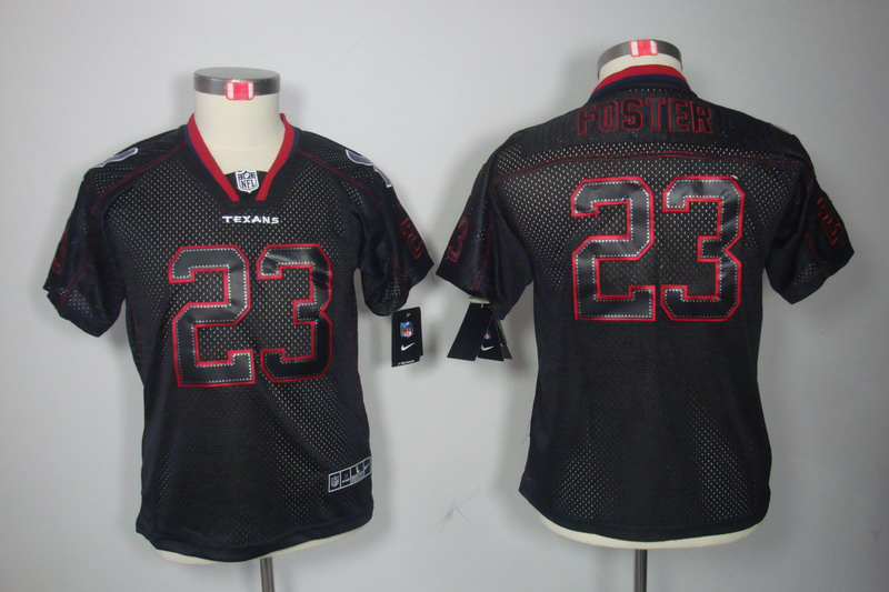 Houston Texans 23 Foster youth Nike Lights Out Black Elite Jerseys