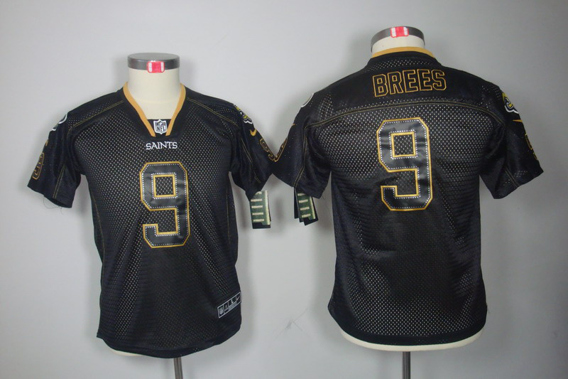 New Orleans Saints 9 Brees youth Nike Lights Out Black Elite Jerseys