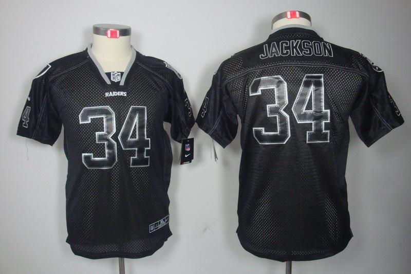 Okaland Raiders 34 Jackson youth Nike Lights Out Black Elite Jerseys