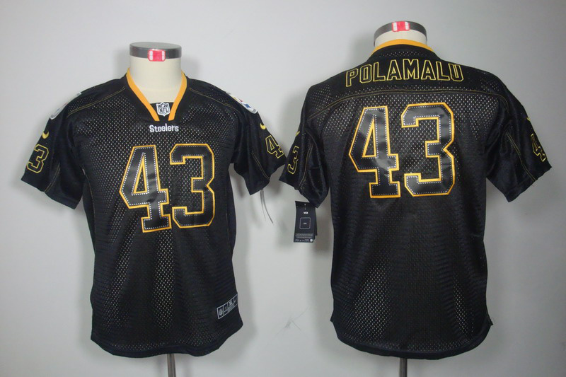 Pittsburgh Steelers 43 Polamalu youth Nike Lights Out Black Elite Jerseys