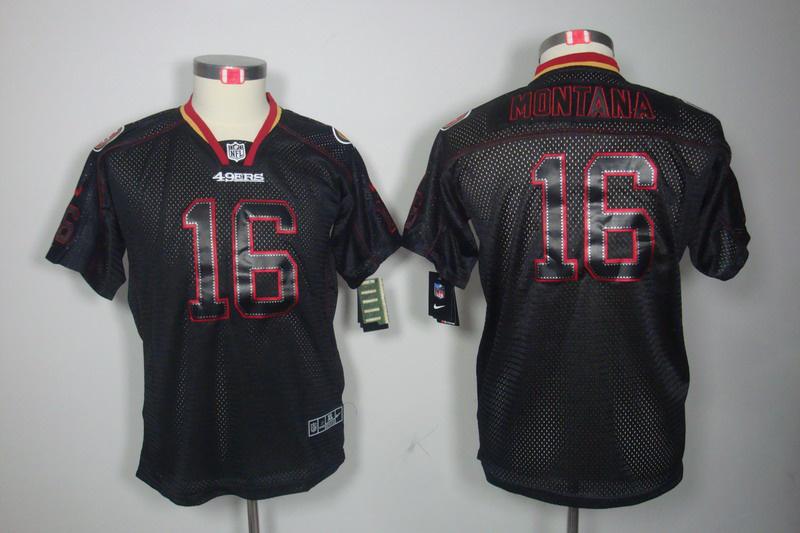 San Francisco 49ers 16 Montana youth Nike Lights Out Black Elite Jerseys