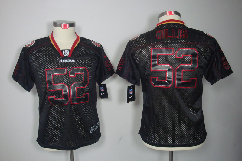 San Francisco 49ers 52 Willis youth Nike Lights Out Black Elite Jerseys