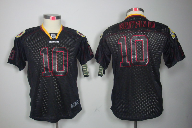 Washington Red Skins 10 Griffin III youth Nike Lights Out Black Elite Jerseys