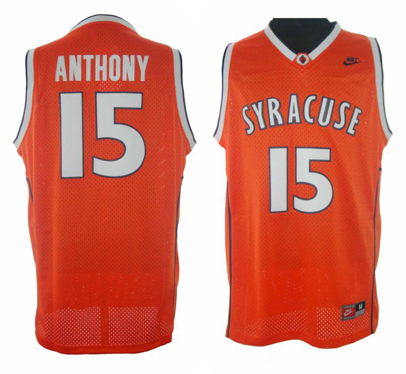 NCAA Syracuse 15# Carmelo Anthony Stitched Orange Jersey