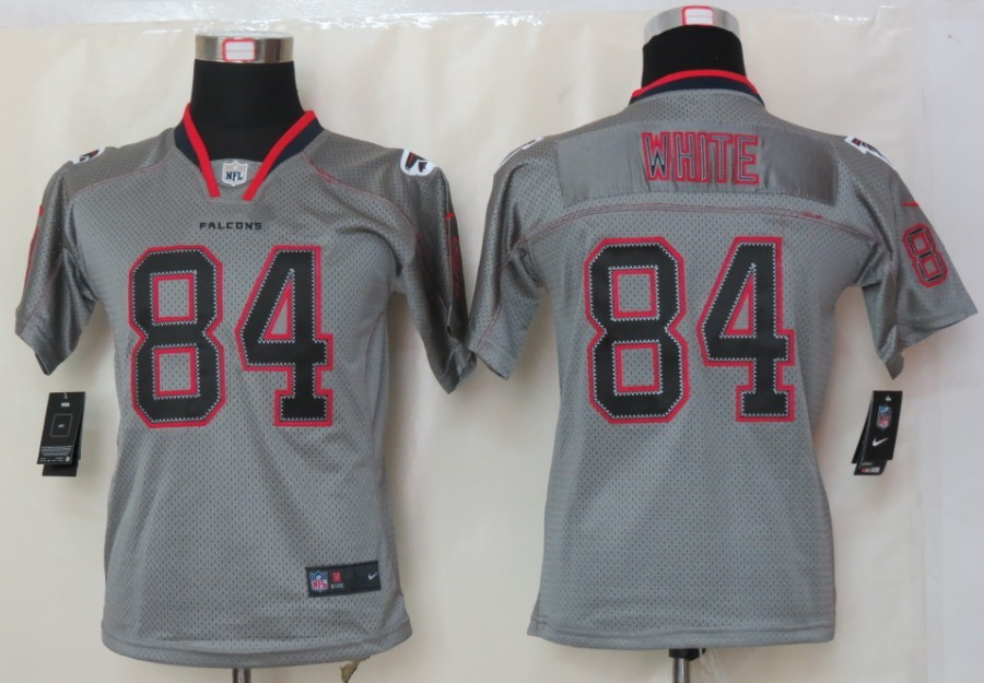 Atlanta Falcons 84 White youth Nike Lights Out Grey Elite Jerseys