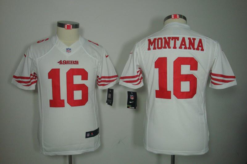 San Francisco 49ers 16 Montana white youth Nike Limited Jersey