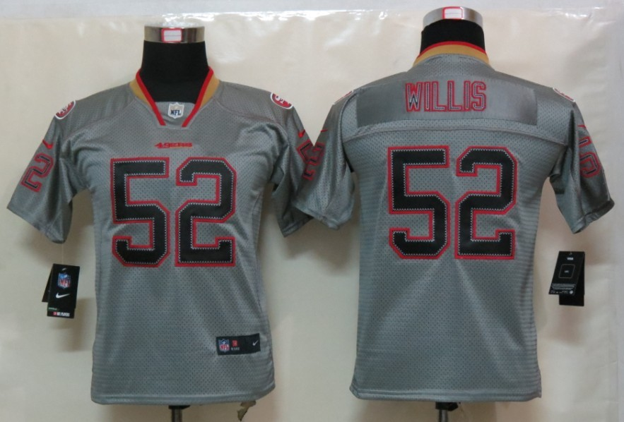 San Francisco 49ers 52 Willis youth Nike Lights Out Grey Elite Jersey