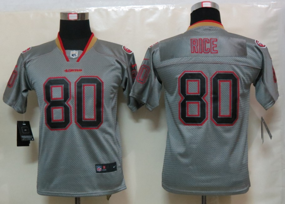 San Francisco 49ers 80 Rice youth Nike Lights Out Grey Elite Jersey