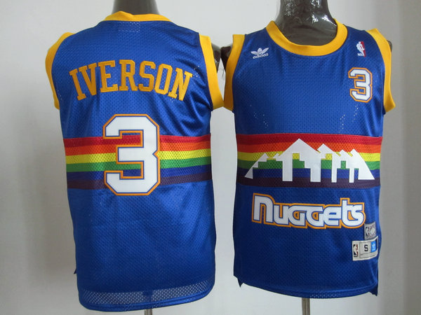 Denver Nuggets 3 Lawson Soul Swingman Stitched Blue Rainbow Throwback Jersey