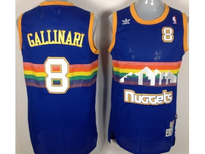 Denver Nuggets 8 Gallinari Soul Swingman Stitched Blue Rainbow Throwback Jersey