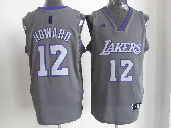 Los Angeles Lakers 12# Dwight Howard Grey Revolution 30 Swingman NBA jerseys