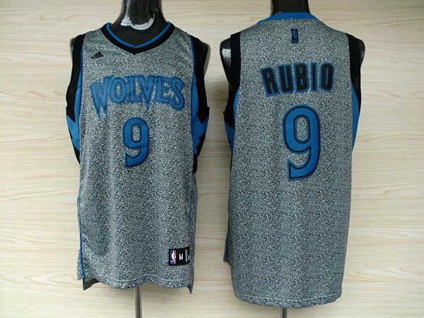 Minnesota Timberwolves 9 Ricky Rubio Grey Static Fashion Swingman Jersey
