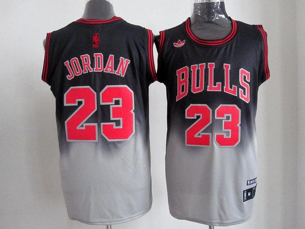NBA Chicago Bulls 23 Jordan black-gery jerseys