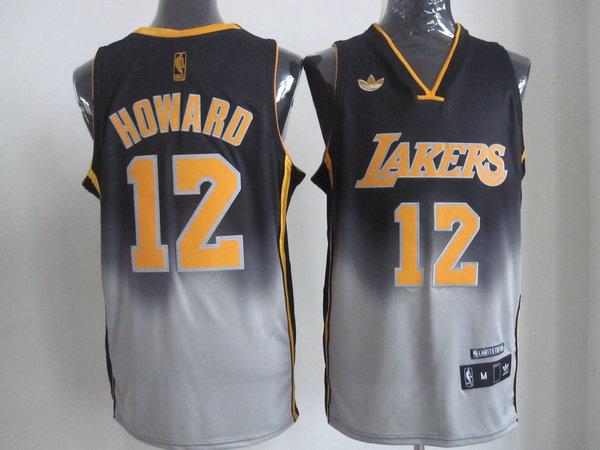 NBA Los Aangeles Lakers #12 Dwight Howard Black-Grey Jerseys
