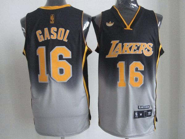 NBA Los Aangeles Lakers #16 Gasol Black-Grey Jerseys