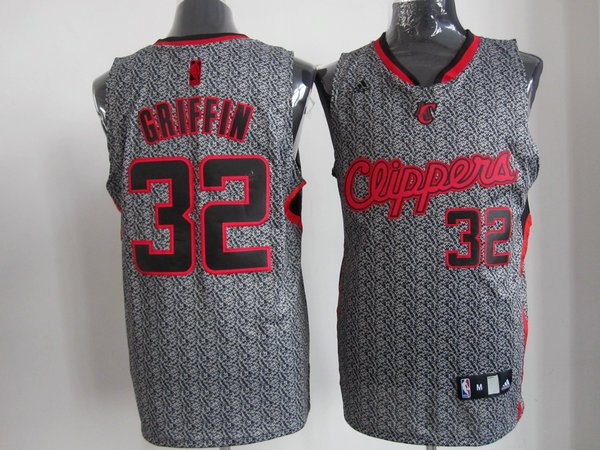 nba los angeles clippers 32 griffin grey static fashion swingman Jersey