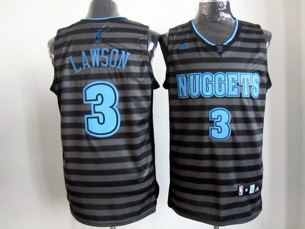 NBA Nuggets 3 Lawson grey with black strip jerseys