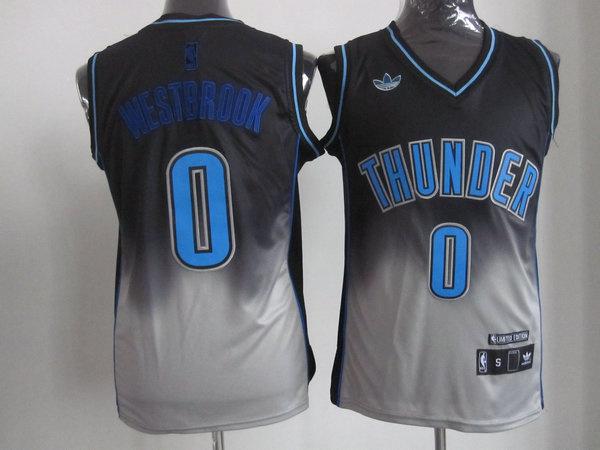 NBA Oklahoma City Thunder #0 Westbrook black-Gery Jerseys