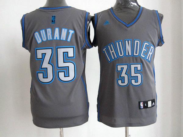Oklahoma City Thunder #35 Kevin Durant Grey Revolution 30 Swingman NBA Jerseys
