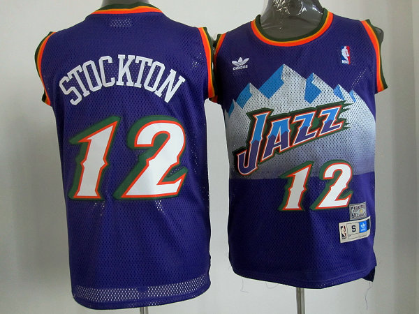Utah Jazz 12 John Stockton Purple Mitchell and Ness Swingman NBA Jerseys
