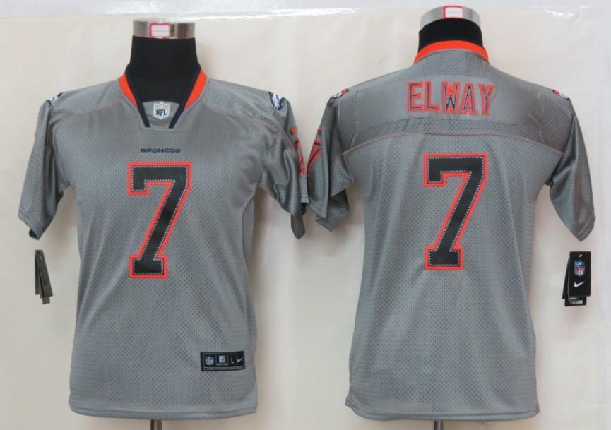 NEW Nike Denver Broncos 7 Elway Lights Out Grey Elite【Kids】Jerseys