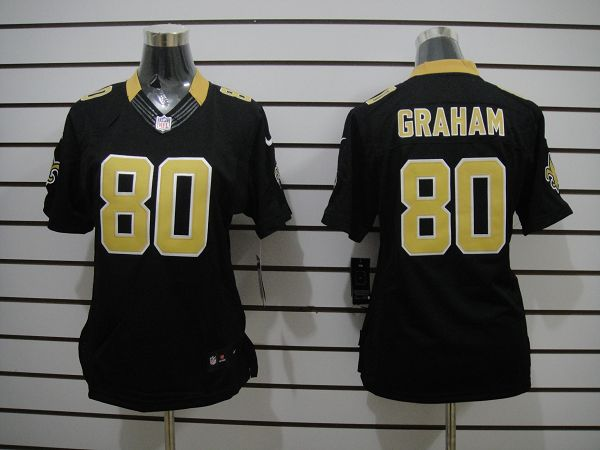 Women's New Orleans Saints 80 Graham Black Colors Limited Jerseys